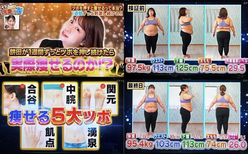 ツボを押すだけダイエット?餅田コシヒカリさんの体重減の真相。それって実際どうなの課